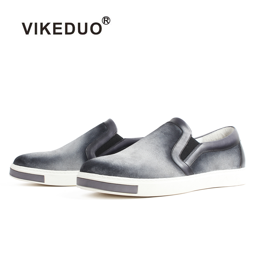VIKEDUO New Men s Suede Loafers Shoes Gray Flat Handmade Slip On Shoes Male Casual Patina