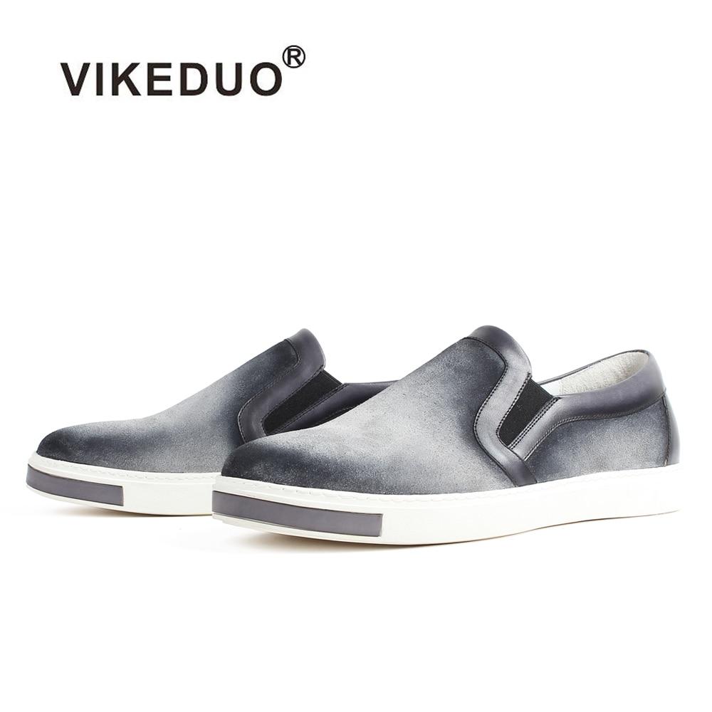 VIKEDUO ใหม่ผู้ชายรองเท้า Loafers แบนสีเทา Handmade Slip   On รองเท้าชาย Patina Bespoke Zapatos Hombre ฤดูร้อนฤดูใบไม้ร่วง-ใน รองเท้าลำลองของผู้ชาย จาก รองเท้า บน   1