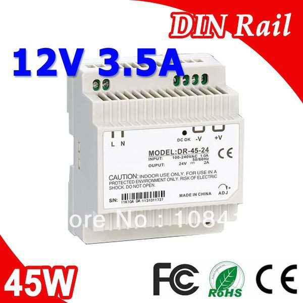 DR-45-12 LED Din Rail mounted Power Supply Transformer 110V 220V AC to DC 12V 3.5A 45W Output dr 240 din rail power supply 240w 48v 5a switching power supply ac 110v 220v transformer to dc 48v ac dc converter