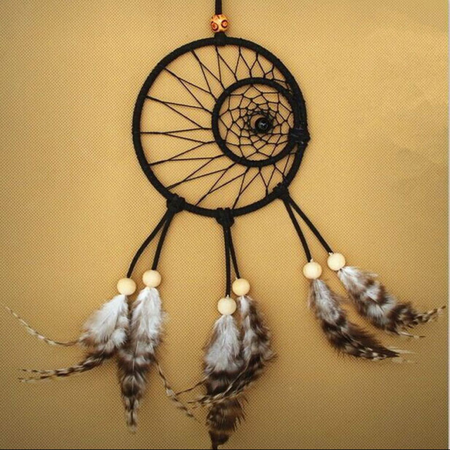 Handmade Black Dream Catcher Circular Net With Feathers Wall Hanging ...