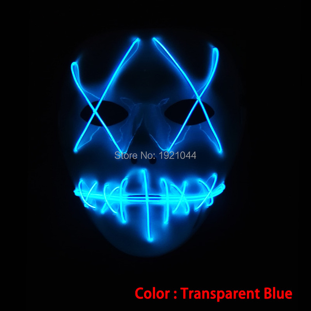 54d82861d250e Máscara transparente Máscara azul EL Fio Incandescente com DC-3V em Constante  Inversor Neon Light