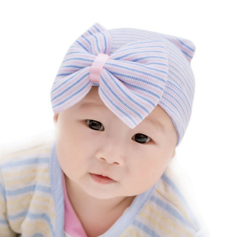 ac8f0f27f8efcc 1 Pcs Hospital Newborn Hat Baby Girl Cotton Beanie With Bow Newborn Soft Knit  Infant Striped Caps Toddler Hat Accessories