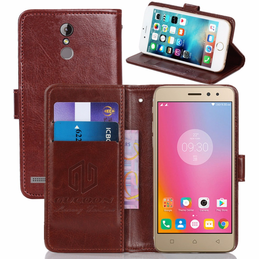 sports shoes d4242 635a6 US $3.99 20% OFF|GUCOON Vintage Wallet Case for Lenovo K6 Power 5.0inch PU  Leather Retro Flip Cover Magnetic Fashion Cases Kickstand Strap-in Wallet  ...