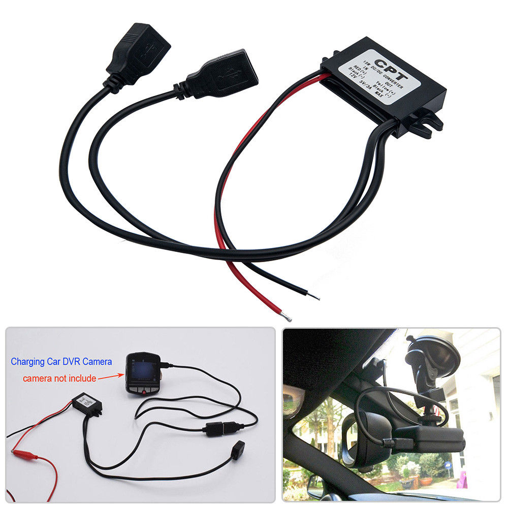 Dual <font><b>USB</b></font> Vehicle <font><b>Car</b></font> Dash Cam <font><b>DVR</b></font> Hard Wire Kit <font><b>12V</b></font> to 5V Power Adapter <font><b>Cable</b></font> image