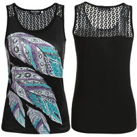 Womens Sexy Low Cut Feather Print Crochet Hollow Out Black Summer Casual Tank Tops Cute Fashion Vest Shirts