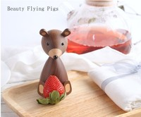 Russian bear wooden ornaments decorative squirrel furniture wooden crafts delivery small gifts wooden bear toy decoration house