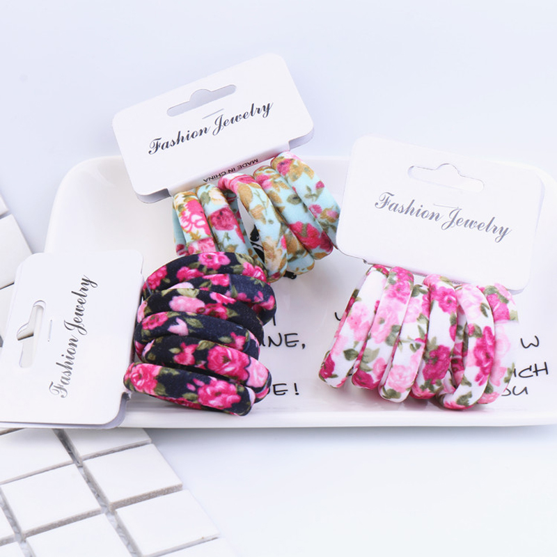 Women's Hair Accessories Imported From Abroad New 6pcs/pack Hair Accessories Floral Elastic Bands Girls Cute Flower Print Women Headwears Headdress Gum For Ties Kj
