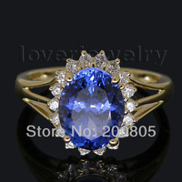 585 Желтое золото танзанитное кольцо, природных алмазов Буле танзанитное кольцо в твердой 14Kt желтое золото Овальный 7x9 мм WU128