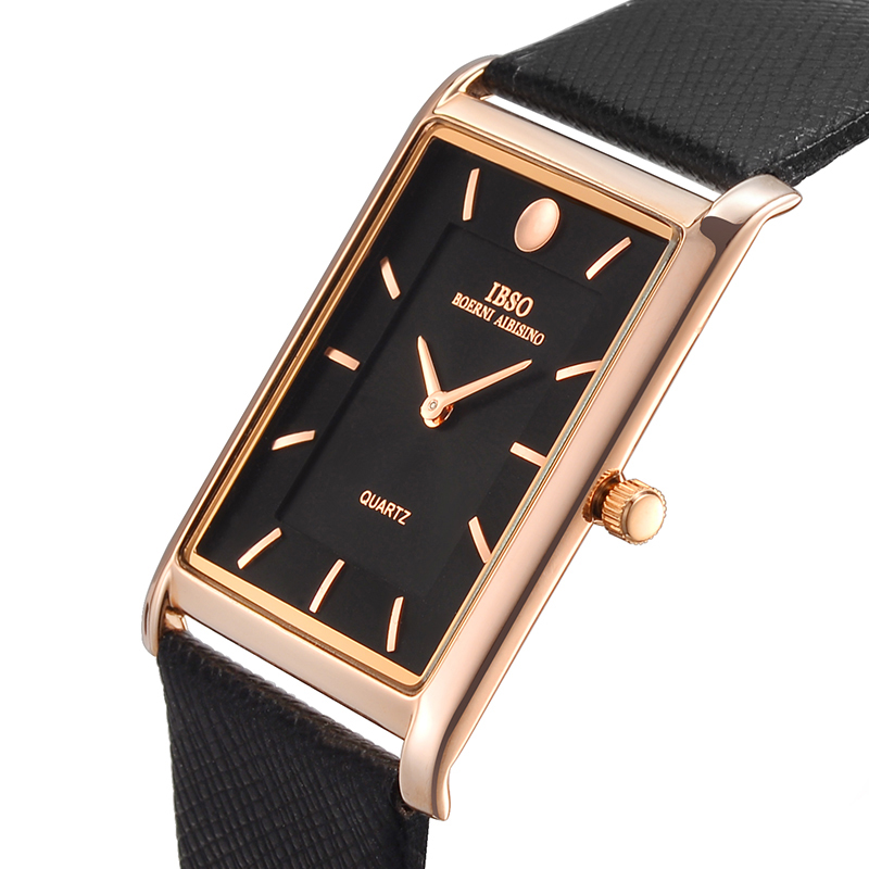 IBSO 7MM Ultra thin Rectangle Dial Quartz Wristwatch Black Genuine Leather Strap Watch Men Classic Business New Men Watches 2019