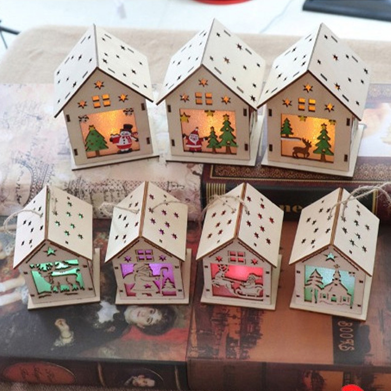 LED Wooden Christmas Luminous House Toys Glow In The Dark Christmas Decoration For Home Montessori Toys For Children Xmas Gift
