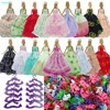 15 Items 5x Wedding Dress 5x Purple Hangers 5x Shoes Handmade Wedding Party Costume Accessories For