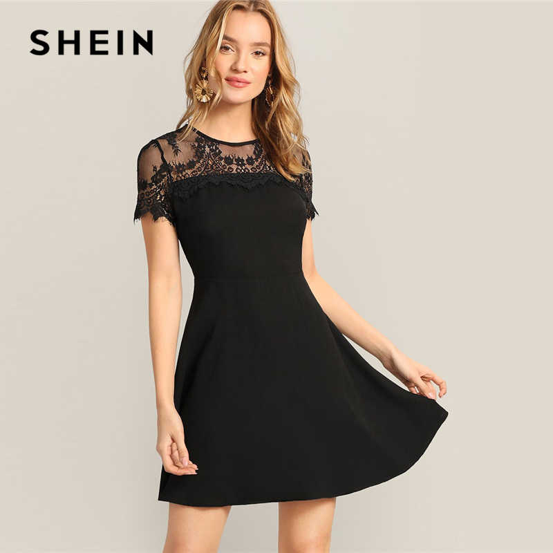SHEIN Black Elegant Floral Lace Sheer Yoke Fit and Flare Mini Dress Women Summer High Waist Short Sleeve A Line Solid Dresses