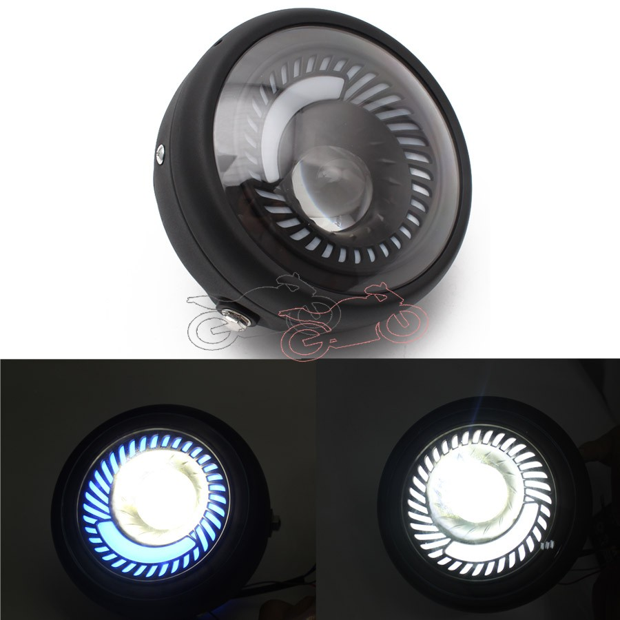 For CG125 GN125 Cafe Racer Bobber Custom Motorcycle Metal Projector DRL LED Front Headlight With Angel Eye Hi/Lo Beam
