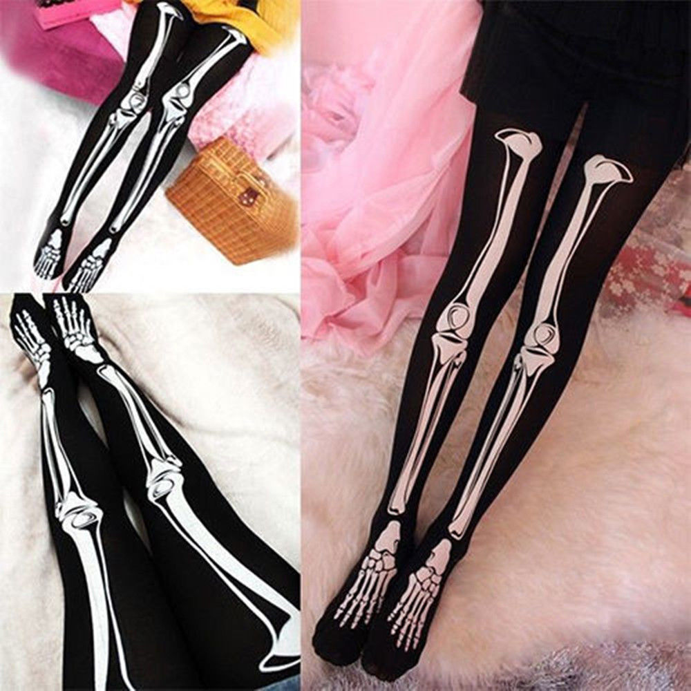 women skull skeleton bone halloween party tights pantyhose opaquechina - Halloween Tights For Women