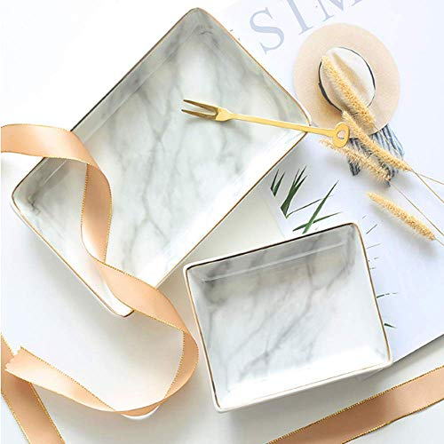 Nordic Style Marble Painting Phnom Penh Ceramic Jewelry Plate Ring Necklace Cosmetic Snack Dried Fruit Storage Tray Organizer