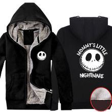 The Nightmare Before Christmas Jack Skellington Super Warm Winter Fleece Cotton Coat Hoodies Sweatshirts