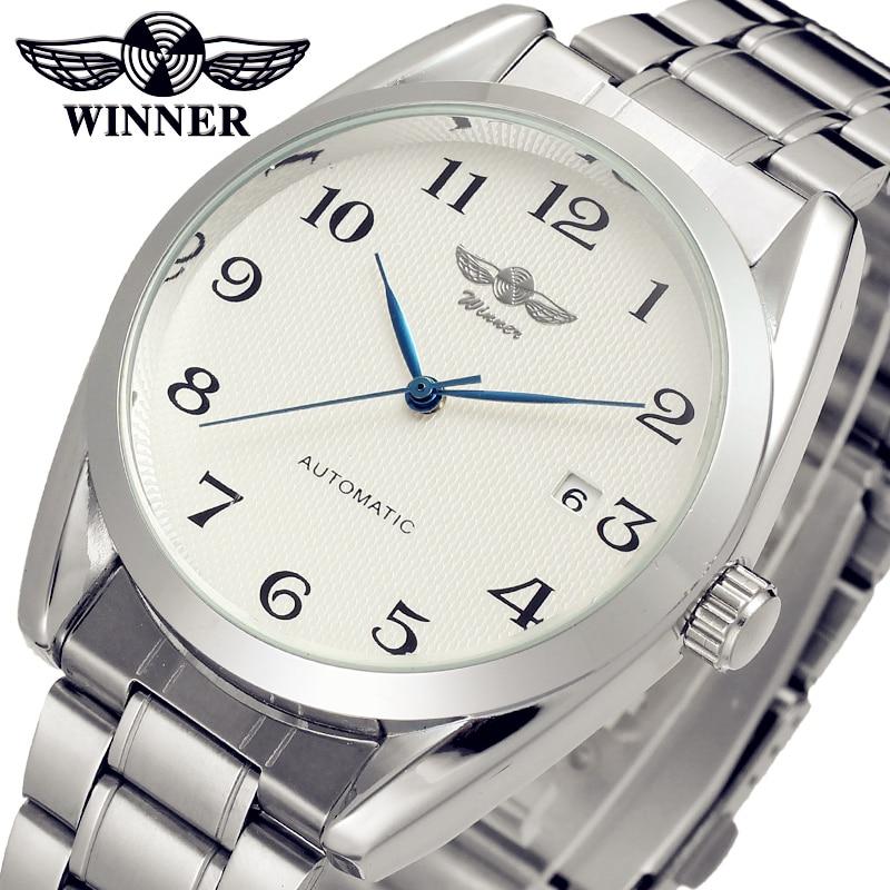 Fashion WINNER font b Men b font Luxury Brand Stainless Steel Business Watch Date Automatic font
