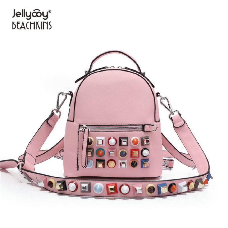 Здесь продается  Jellyooy Beachkins New Fashion Colorful Rivet Backpacks Luxury Stud Girl School Bag Small Shoulder Messenger Backpack  Камера и Сумки