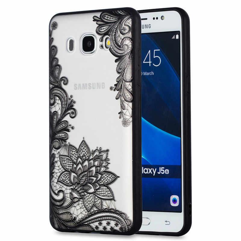 Кружева цветочные чехол для телефона на samsung Galaxy J3 J5 J7 2016 J2 премьер A3 A5 A7 2017 чехол тонкий Ясно Мягкие TPU + PC Твердый переплет