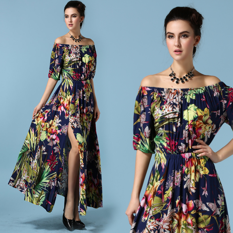 ddf80ea4d51b STKKOO 2016 New Summer Designer European Dress Slit Women s Off Shoulder  Vintage Flower Printed Maxi Boho Dress Vestidos SML