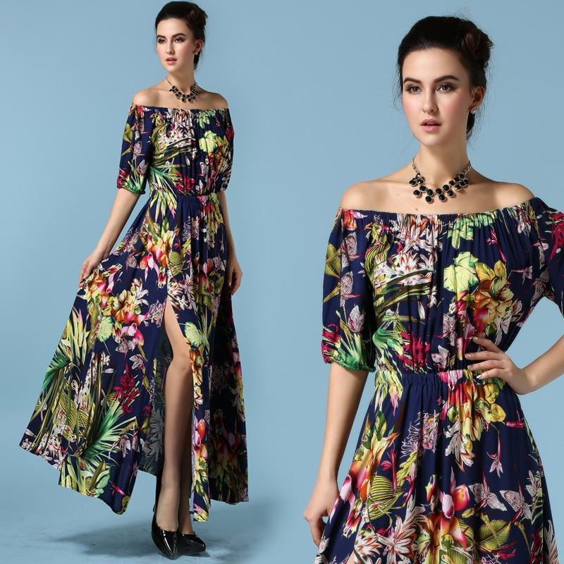 8557a7d24f75 STKKOO 2016 New Summer Designer European Dress Slit Women s Off Shoulder  Vintage Flower Printed Maxi Boho Dress Vestidos SML
