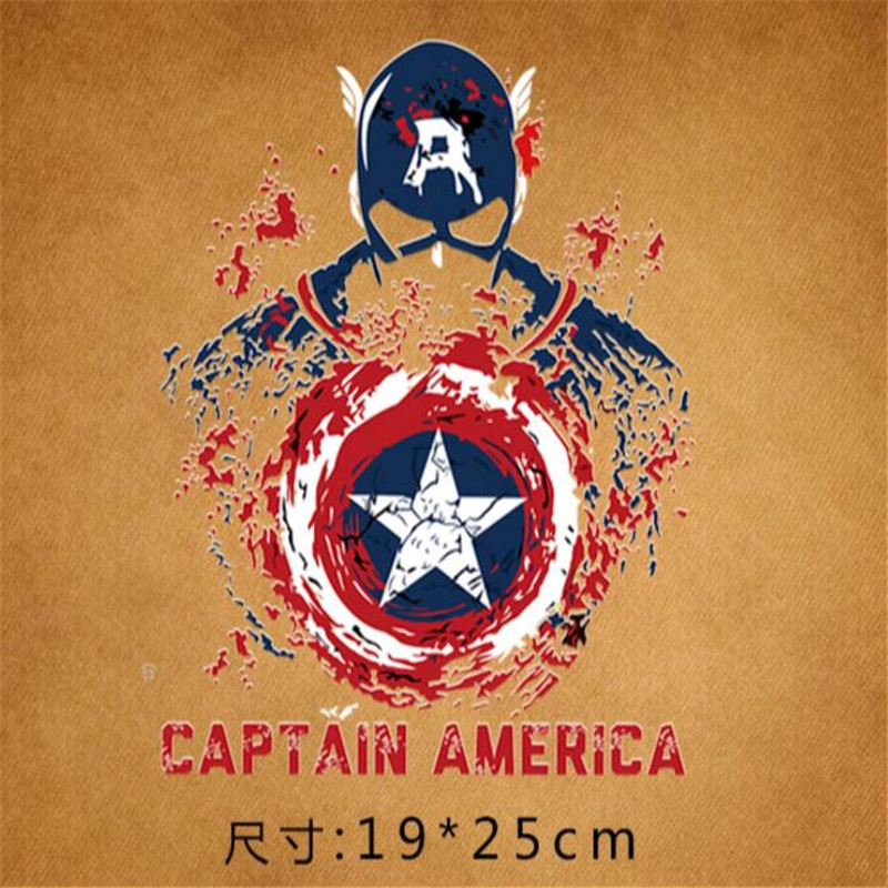 Captain America Iron Patches For Clothing Marvel Badge Ironing Stickers Diy Applique Heat Transfer Super Washable Patch