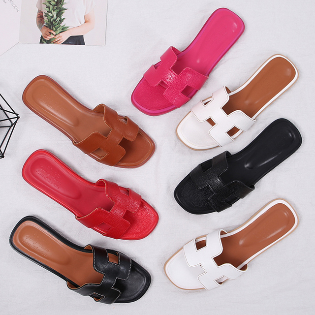 617b840b2a6 Brand H Shape Outside Casual Slippers Lady Open Toe Flats Slides Lazy Beach  Soft Women Shoes Comfort Beach Shoes Big Size 42