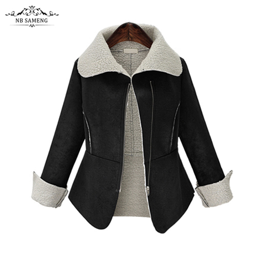 2016 New Fashion Black Women Long Coat Cotton-Padded Clothes Thicken Winter Female Parkas Suede Lamb Wool Jacket Plus Size l