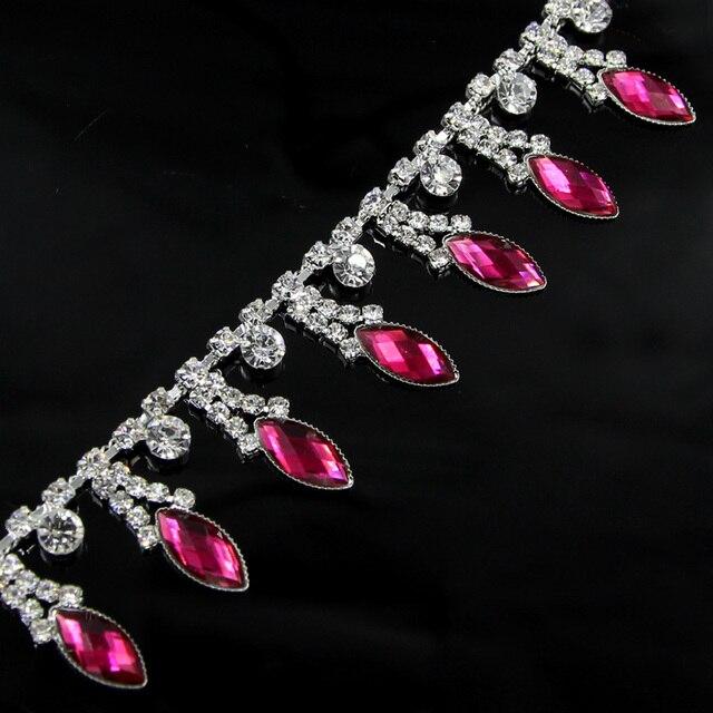1 Yard Tassel Fringe Crystal Clear Round Glass Rhinestone Cup Chain Silver  Base Dress Decoration Trim 1c2da6b24b7e