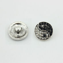 Fashion 18mm white black rhinestone yin yang snap jewelry button charm for snap necklace earring 10pcs/lot(China)