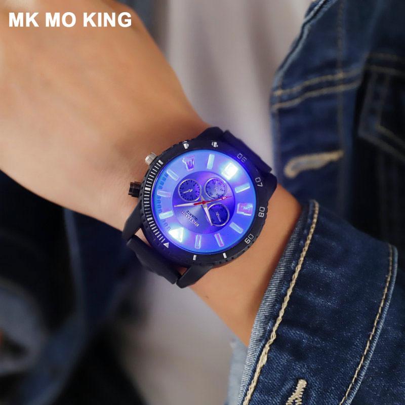 Outdoor Sports Cool Glowing Quartz Watch Blu-ray Dials Influx Men's Women's Street Fashion Nightclub Bracelet Couple Watches