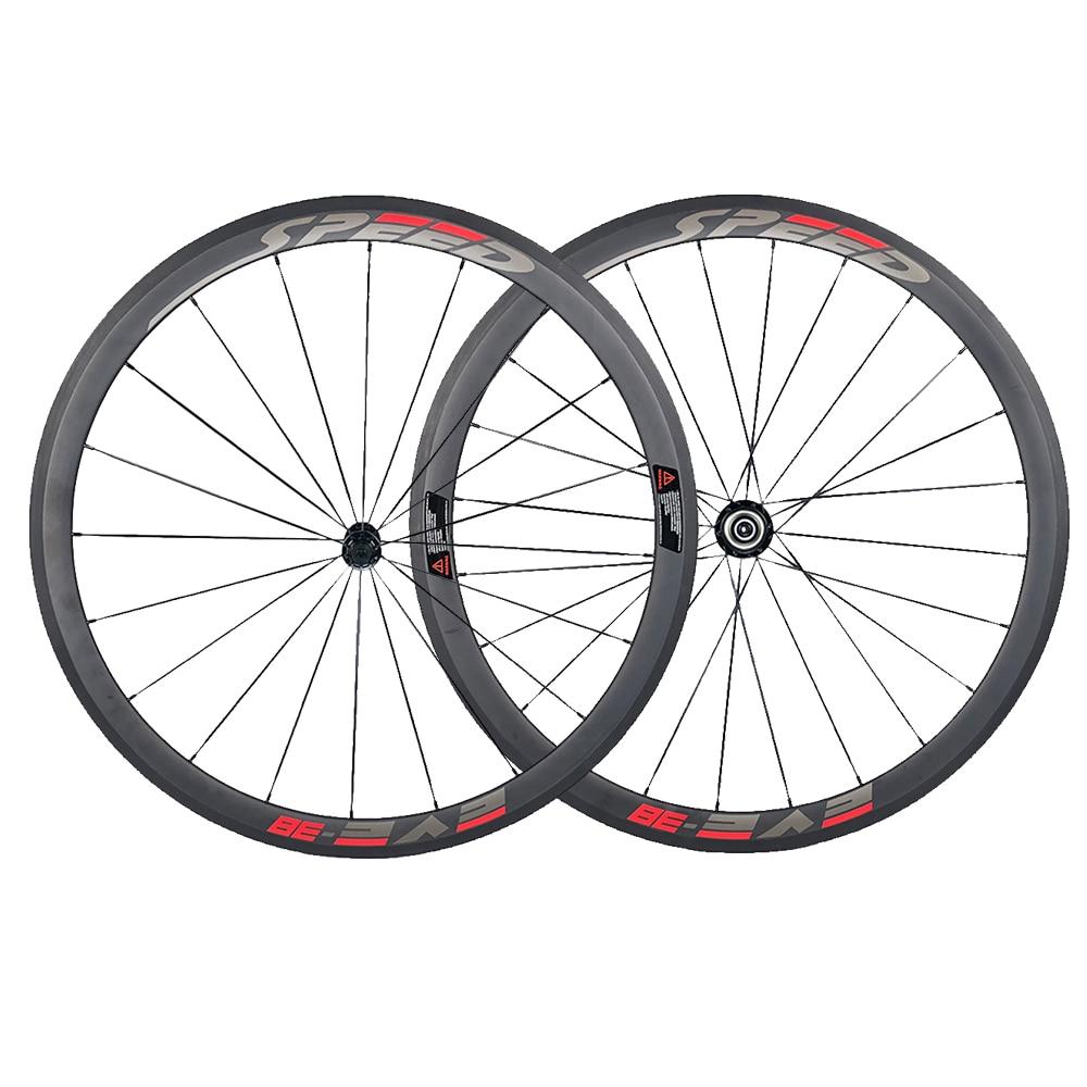 Jerry's Store Speedeve 38mm Carbon Road Bike Wheel 23mm Width 100% Carbon Fiber Bicycle Wheelset Front& Rear 700C High Quality yandex w205 amg style carbon fiber rear spoiler for benz w205 c200 c250 c300 c350 4door 2015 2016 2017