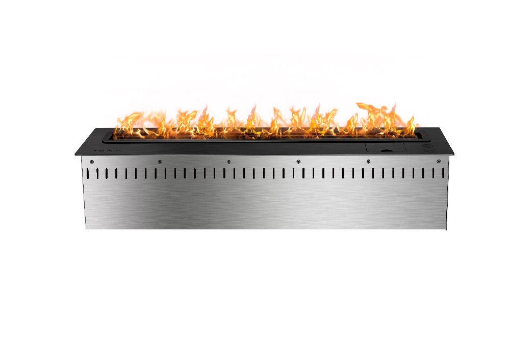 800mm Long Remote Control Intelligent Wifi Black Automatic Ethanol Electric Fireplace Flame