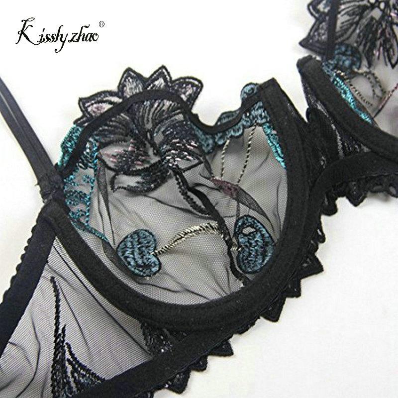 5df83c739e8 Fashion Women Embroidery Bras Underwear Plus Size Lingerie Set Sexy C D cup  Ultrathin Transparent Bra Panties Lace Bra Set Black-in Bra   Brief Sets  from ...