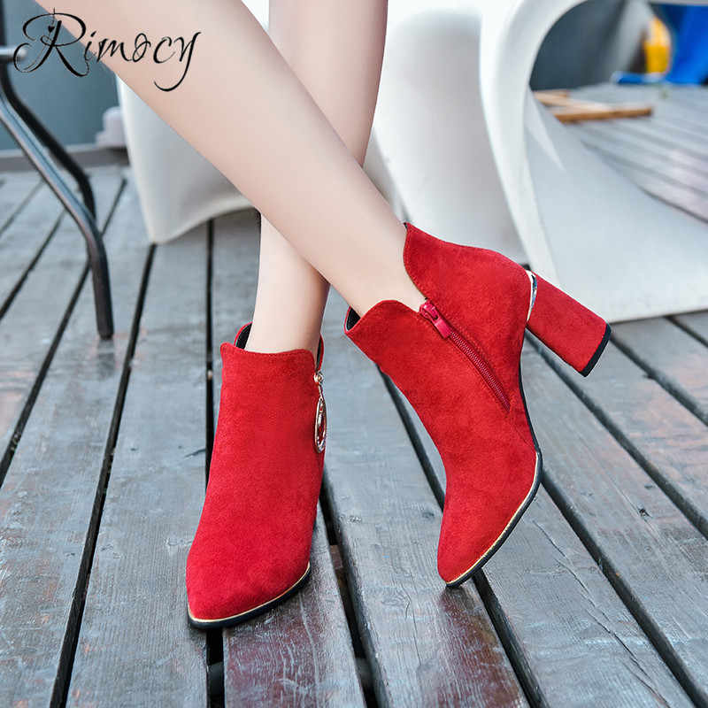 bce6994418d Rimocy faux suede ankle boots for women 2019 spring new fashion pointed toe  square heel botines