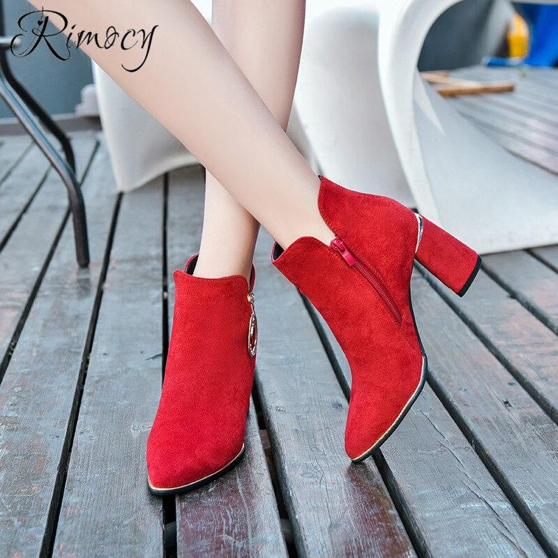 Faux Mujer 2019 Mujeres Nueva Cuadrado rojo Moda Primavera Botas Botines De  Para Tacón Suede Rimocy ... 96b933ff80b22