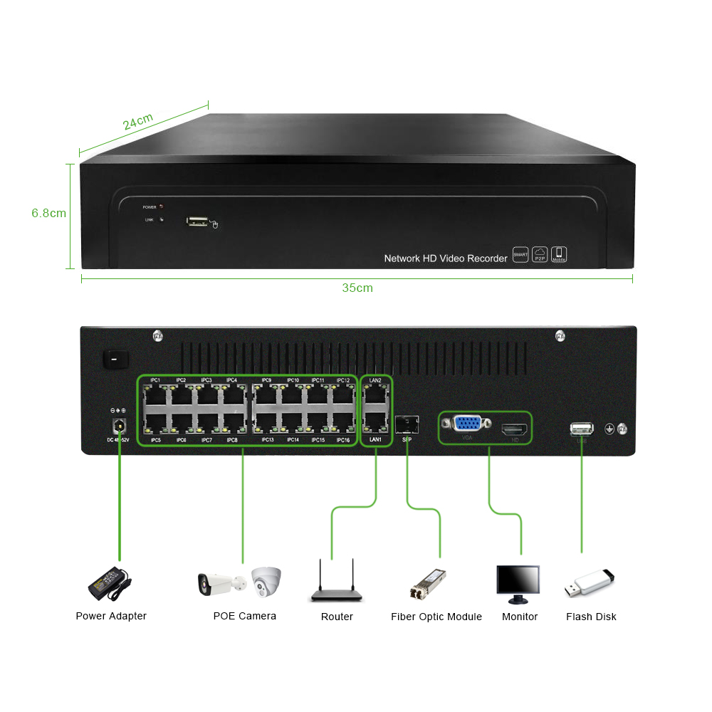Image 3 - 16ch POE NVR 4K 5MP H.265 Up to 32ch NVR Network Video Recorder 2 HDD 24/7 Recording IP Camera Onvif 2.6 P2P System G.Ccraftsman-in Surveillance Video Recorder from Security & Protection