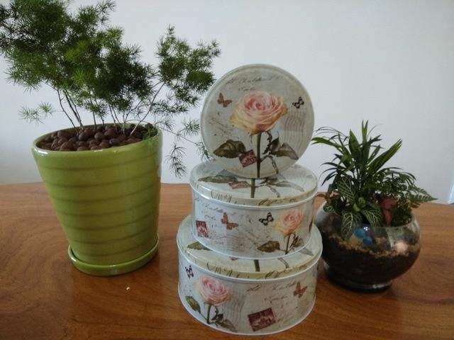 3PCS/set Metal flower pircuture storage box ,iron biscuits box ...