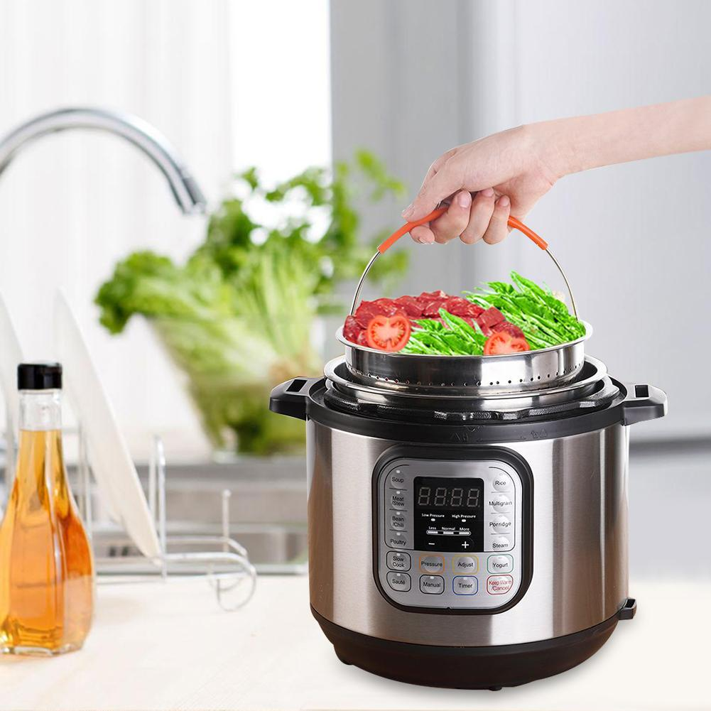 Stainless Steel Rice Cooker Steam Basket Fits 6 Or 8 Quart Instant Pot Anti-scald Steamer Multi-Function Fruit Cleaning Basket