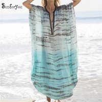 Vestido de Playa largo de talla grande cubrir hasta 2019 traje de baño de Pareo de Playa de Sarong Tunas Playa Mujer Kaftan