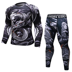 Image 5 - Brand New MMA WorkOut compress men t shirt long sleeves BJJ 3D fitness Tights men Rashguard Tshirt + trousers mens clothing