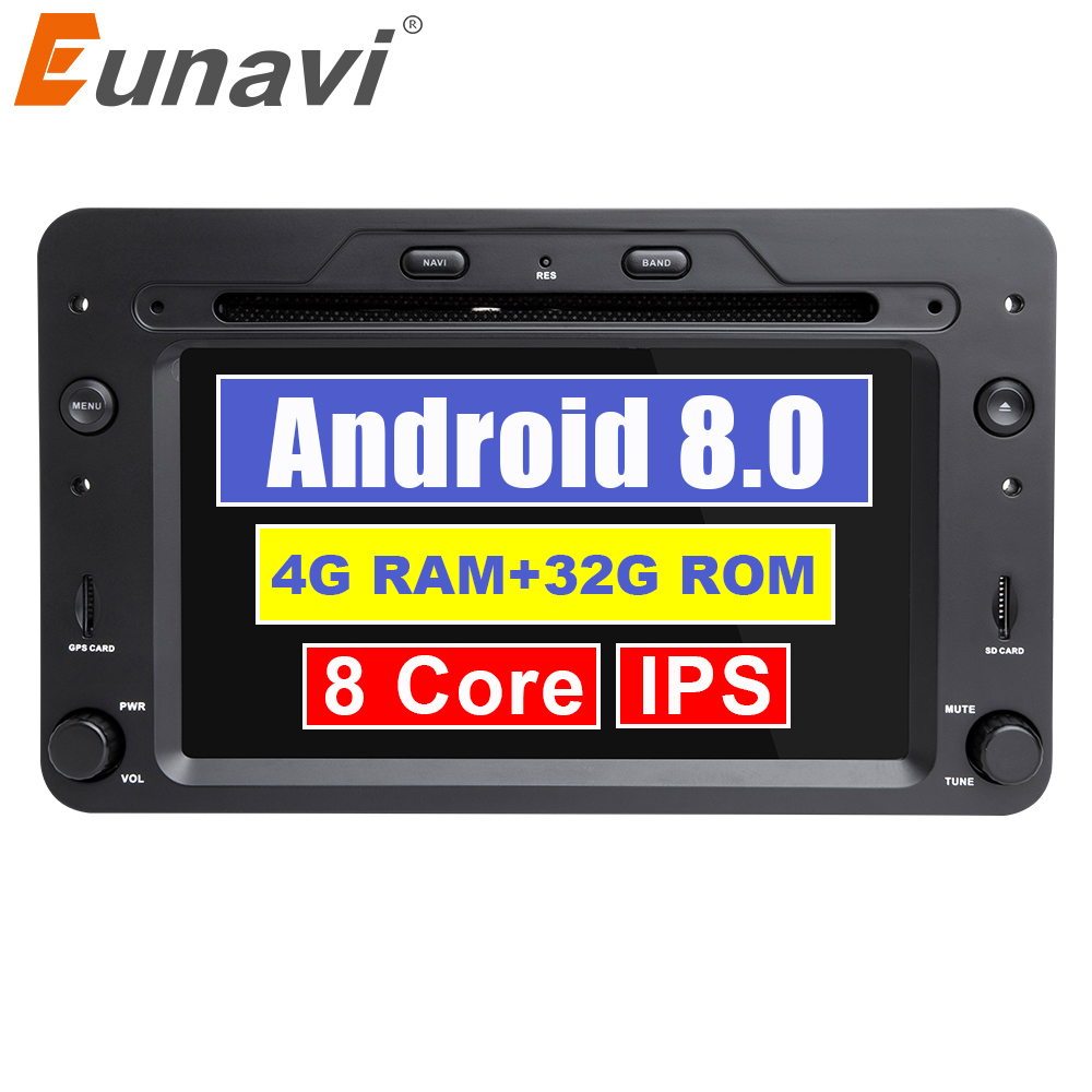 Eunavi 8 Octa core Car Multimedia player 1 din Auto DVD android 8.0 7 Inch For Alfa Romeo mito 2008- 4G RAM Radio FM GPS Navi