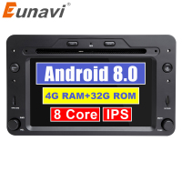 Eunavi 8 Octa core Car Multimedia player 1 din Auto DVD android 8.0 7 Inch For Alfa Romeo mito 2008 4G RAM Radio FM GPS Navi