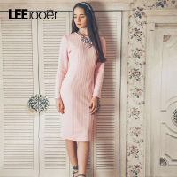 LEEJOOER Winter Dresses Women 2017 Pink Jacquard Vintage Womens Dress Solid Long Sleeve Vestidos Fitness Long