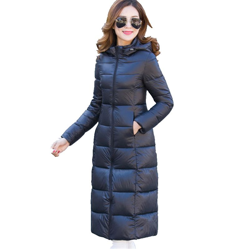 2017 Winter Women New Cotton-Padded Clothes  Long Coat Pure Color Big Yards  Han Edition Thickening Fashion Coat Q0010 цена 2016