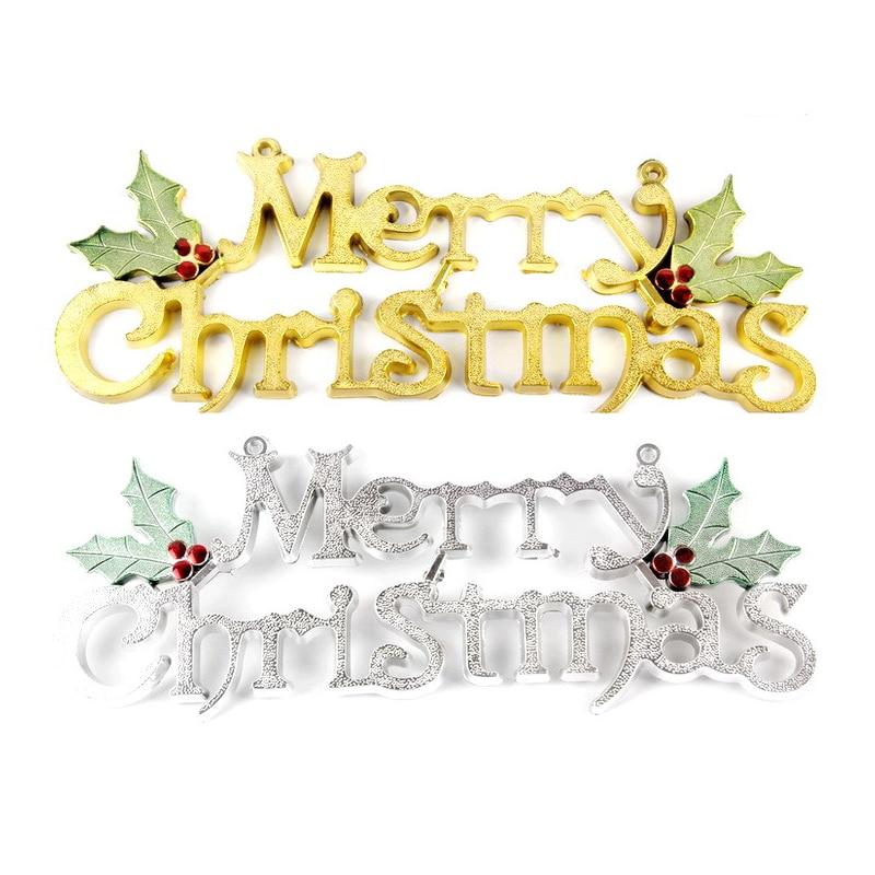 Frohe Weihnachten Gold.Us 4 99 Alle Neue 3d Gold Silber Frohe Weihnachten Brief Weihnachten Drop Ornamente Weihnachten Doorplat Anhänger Für Shop Startseite Tür