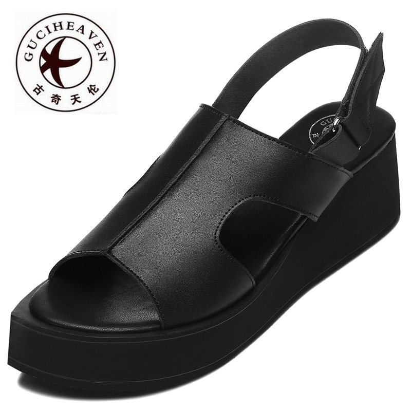 ФОТО Guciheaven Genuine Leather Women Sandals,Comfortable Ankle Strap Wedges Shoes,Sweet Girls Open Toe Footwear,New Flip-Flops Shoes
