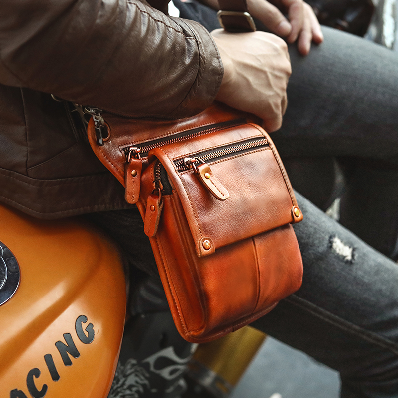 Casual Original Leather Men Fashion Small Travel Messenger Sling Bag Design Waist Belt Pack Phone Pouch Drop Leg Bag 211-4l