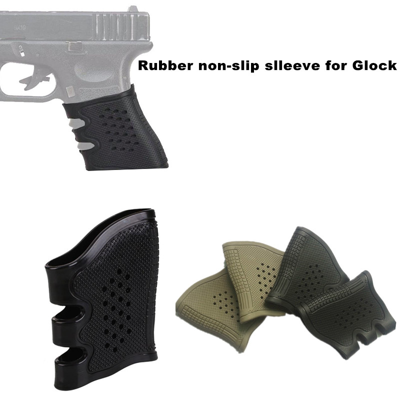 Tactical Glock Pistol Rubber Grip Sleeve Cover Anti Slip for Stretch For Glock 17 19 20 21 22 31 32 M4 AR15 airsoft Holster(China)