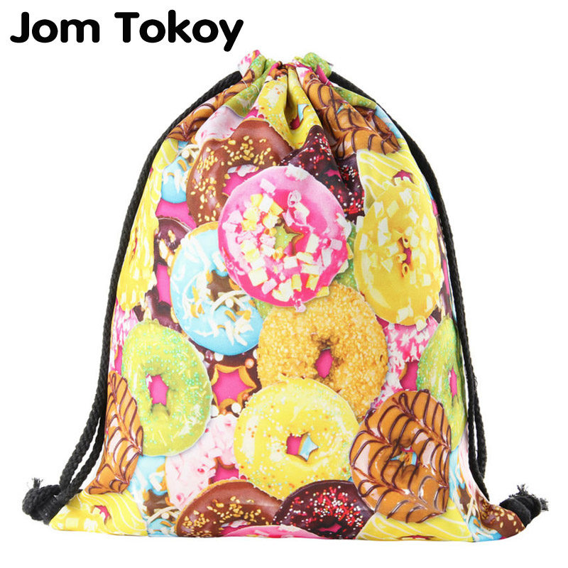 Jomtokoy New Doughnut Drawstring Bags 3D Printed Cute Girls School Bags 27039